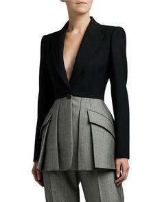Alexander McQueen Herringbone-Peplum Pleated Blazer and Matching Items & Matching Items Suit Fashion, Fashion Outfits, Womens Fashion, Fashion Trends, Couture Coats, Classy Dress, Work Attire, Mode Style, Business Fashion