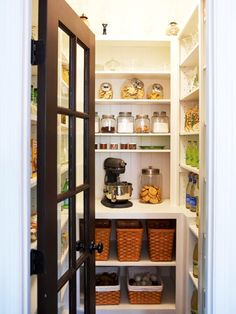 Savvy Storage Cookbooks, countertop appliances -- including the microwave -- spices, and other food items are at home in the 4 X 7-foot larder. Emily calls this the most important room in the house. Freeing the kitchen of these items keeps the area focused on food preparation, cooking, and pan-washing