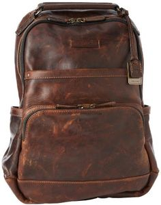 $438, Dark Brown Leather Backpack: Frye Logan Antique Pull Up Backpack. Sold by Amazon.com. Click for more info: https://lookastic.com/men/shop_items/142992/redirect