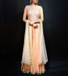 #Peach Thread & Swarovski Work Chinon #Chiffon #Anarkali #Suit by #Megha And #Jigar at #Indianroots