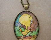 Bird necklace, tweety pie necklace, bird pendant, birs necklace, vintage book page necklace, book page pendant, upcycled jewellery