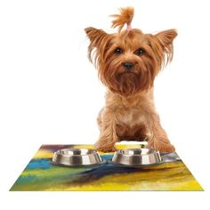 Kess InHouse Josh Serafin 'Sano' Yellow Surf Feeding Mat for Pet Bowl, 18 by 13-Inch >>> Click image to review more details. (This is an affiliate link and I receive a commission for the sales) #PetCats