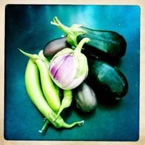 Beautiful eggplants from the garden.