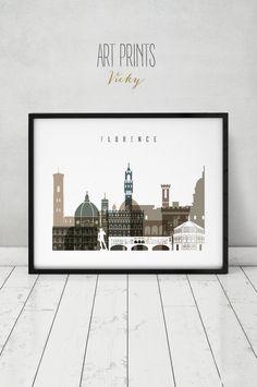 Florence art print, Poster, Wall art, travel, Italy cityscape, Firenze skyline, City print, Typography art, Gift, Home Decor, ArtPrintsVicky by ArtPrintsVicky on Etsy