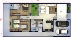 Plano de casa con suite y closet. Plano para terreno 10x20