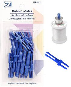 Not recommended: Bobbin Mates. Keeps bobbin ON thread while in storage. No need to go hunting for the correct bobbin thread when it is time to start sewing. Sewing Hacks, Sewing Tutorials, Sewing Crafts, Sewing Projects, Sewing Patterns, Sewing Tips, Coin Couture, My Sewing Room, Sewing Rooms