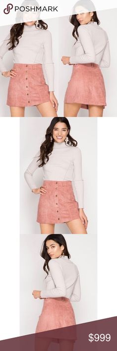 NEW! Dusty Rose Faux Suede Mini JUST ARRIVED! Super cute vegan Suede Mini skirt. Button down front, great with high boots and a chunky sweater for the fall. Super stylish and totally on-trend. Skirts Mini