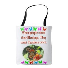 TEACHER APPRECIATION BUTTERFLY DESIGN TOTE BAG - college gift idea customize diy unique special