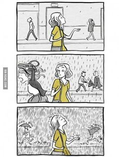 INFP and rain! (My favorite runs are in the rain) Mbti, Infp Personality, Introvert Humor, Image Citation, Cute Comics, I Can Relate, Infj, Make Me Smile, Funny Memes