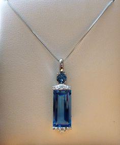 3ct Swiss   London Blue Topaz   White Sapphire Pendant Necklace- 10K Gold 18