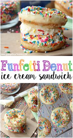 Funfetti Donut Ice Cream Sandwiches #SunsOutSpoonsOut #Ad
