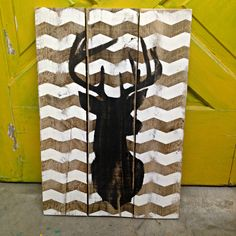 Chevron Deer Bust / Stag Sign 20x24 by Junque2Jewels on Etsy
