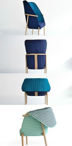 Somewhere between a comfy poltrona and an occasional chair, the Reves chair was designed to envelope the user when they choose. The flexible, two-tone trivera textile hood can be folded up instantly to create a secluded, quieter space for reading or simply contemplating. Simply fold it down and voila! Open, occasional seating. #Chair #Furniture #Living #Yankodesign