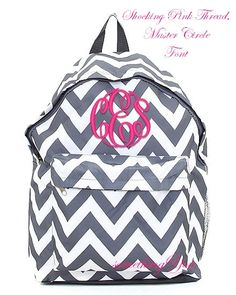 2964504de5 Pewter Gray Chevron Personalized Backpack - Grey Monogrammed Girls Kids  Childrens Zig Zag Stripes School Bookbag Hot Pink Lime Aqua Blue