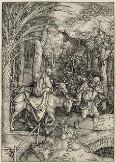 LA HUIDA A EGIPTO - Alberto Durero, 1504- 1505 (Grandes series: la vida de la Virgen). Entalladura, 298 x 210 mm - See more at: http://www.banrepcultural.org/durero/grandes-series-la-vida-de-la-virgen/la-huida-egipto#sthash.3GY4YLMK.dpuf