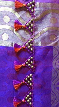 Saree Kuchu New Designs, Saree Tassels Designs, Silk Saree Blouse Designs, Mehndi Designs, Silk Sarees, Hand Embroidery Videos, Hand Embroidery Tutorial, Hand Embroidery Flowers, Block Print Saree