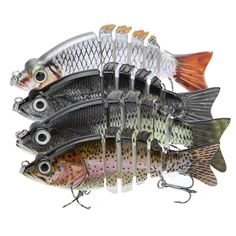"""Features: 4"""" 6-segment fishing lure. 2 strong and sharp treble hooks. 3D lifelike eyes. High resolution body detail. Smooth and rapid diving action. Life-like swimming actions in water to provoke pred"""