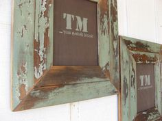 Green Distressed Hardwood Frames by toddmanring on Etsy, $60.00