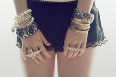 accessories, bracelets, cute, fashion, rings - inspiring picture on . Diy Lace Shorts, Lace Trim Shorts, Silk Shorts, Cute Fashion, Womens Fashion, Teen Fashion, Hipster Fashion, Gold Fashion, Fashion Shoot