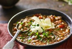 Go bulky with celery, carrot, barley and lentils, then return home to a beautifully warm bowlful. Lentil Soup Recipes, Vegetarian Recipes, Healthy Recipes, Yummy Recipes, Yummy Food, Multi Cooker Recipes, Slow Cooker Recipes, Crockpot Recipes, Crock Pot Soup