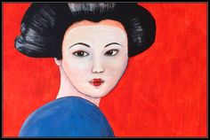 Portrait Geisha  By Mildred 2014 Acrylic painting