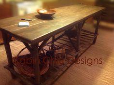 Twig furniture. Log cabin rustic kitchen island.