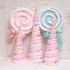Gumdrop Village Trees Pastel Glitter Pink And Turquoise | Etsy