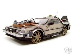 """Delorean From Movie """"Back To The Future 3"""" Railroad Time Machine 1/18 Diecast Model Car by Sunstar"""