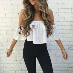 Best Women Shoes on Style Me: nice 39 Off Shoulder Outfits for You to Look Fabulous Komplette Outfits, Cute Casual Outfits, Spring Outfits, Fashion Outfits, Fashion Sites, Hippie Outfits, Girly Outfits, Ootd Fashion, School Outfits