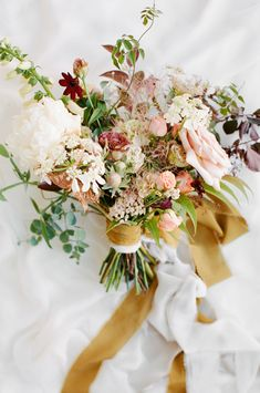 Romantic Light Pink And Red Bridal Bouquet, Gold Ribbon Photography: Feather And Stone Photography Spring Wedding Flowers, Bridal Flowers, Flower Bouquet Wedding, Floral Wedding, Autumn Wedding, Bohemian Wedding Flowers, Spring Flower Bouquet, October Wedding, Purple Wedding