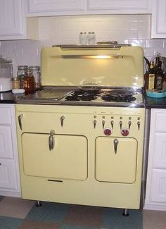 Fully Restored Yellow C Model Range 1950's Chambers Kitchen Stove, and nice floor