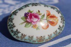 Dresden Trinket Box, Mint Green & Gold Fine Porcelain Dressing Table Box