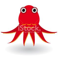 Red octopus on a white background. vector Royalty Free Stock Vector Art Illustration