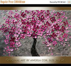 SALE Original   Plum  Blossom Tree   Landscape Acrylic