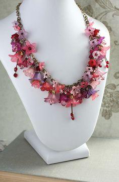 Statement Necklace, Flower Charm Necklace, Lucite Flower Necklace