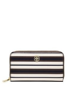 Tory Burch Robinson Stripe Zip Continental Wallet