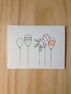 Celebratory balloon card by HartlandBrooklyn on Etsy Cute Cards, Diy Cards, Handmade Birthday Cards, Creative Birthday Cards, Cute Birthday Cards, Birthday Card Drawing, Happy Birthday Signs, Diy Letters, Cards For Friends