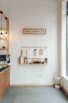 CHA-OLOGY — a Japanese Tea House Experience in Manchester — Haarkon Adventures. Simple shelf on a feature wall. Japanese Coffee Shop, Japanese Shop, Japanese Tea House, Korean Coffee Shop, Cafe Shop Design, Coffee Shop Interior Design, Store Design, Nosara, Shop Interiors