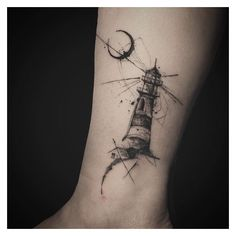 Moon Lighthouse Tattoo ❤ liked on Polyvore featuring accessories, body art and tattoos