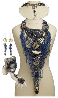 Jewelry Design - Bib-Style Necklace, Cufflet and Earring Set with Seed Beads, Swarovski Crystal and Metal Components - Fire Mountain Gems and Beads
