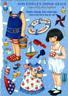 Paper Doll by Mary Engelbreit Ann Estelle's Friend Gracie Summer Fun Mary Engelbreit, Little Doll, Little Girls, Paper Art, Paper Crafts, Foam Crafts, Paper Dolls Printable, Vintage Paper Dolls, Paper Toys