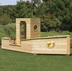 Sandbox Boat: The backyard wooden sandbox is a perfect gift for your kids. Build sandcastles dig up treasures. This Sandbox creates so much extra fun with its boat shaped structure. Pretend you on a pirate boat or sailing towards an island. This wooden sandbox features a steering wheel and Pressure-Treated Wolmanzied® Pine Siding