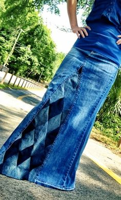 WOMENS diamond print long handmade custom denim jean skirts from sizes 0-26. Modest denims