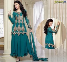 Get This Beautiful Teal Long #AnarkaliSuit Showcases by #JacquelineFernandez. Low Price.Free Shipping. Buy Now:- http://www.shoppers99.com/jacqueline_fernandez_anarkali_suits_collection/jacqueline_fernandez_teal_long_anarkali_suit_t-612-263_1
