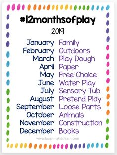 #12monthsofplay 2019 challenge for teachers and parents to use to encourage new ways to play with their kids.   #monthlychallenge #photochallenge #playalong #kidsplay #ilovetoplay #homeschooling #homeschool #homeschoolideas #todder #preschooler #earlyyears #parentinghack #newborn #babyplay #playmatters #playtime #laughingkidslearn #learnwithplay #playathome #playingathome #familydaycare #daycaretips #daycarebusinessplan #daycare #activitiesforkids