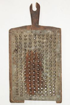 LOOK at this NEAT OLD thing -- it's BEAUTIFUL!!!! :-D  I LOVE the uneven holes and wood frame!  This is definitely a real make-do item for a housewife long ago!!!  WOW!   ----Antique Bulgarian Big Tin Cheese Grater 19 Century