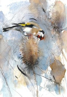 Goldfinch watercolour by Lucy Newton -Animal / Wildlife art. Watercolor Sketchbook, Watercolor Animals, Abstract Watercolor, Art Sketchbook, Watercolor Paintings, Watercolors, Bird Applique, Bird Artwork, Muse Art