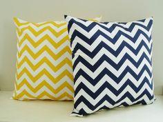 Chevron Pillow Covers Navy Yellow Zig Zag Throw Accent Decorative Nautical 18x18 Set of 2 Cotton Home Decor 18 inch