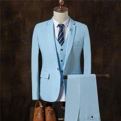 Suit Men Autumn Slim Fit Wedding Suits For Men High Quality 3 Piece Suit Black Sky Blue Men Formal Wear