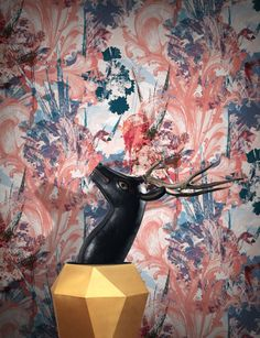 A beautiful modern floral wallpaper, inspired by the artist's love of historical pattern, particularly Alexis Peyrotte's beautiful. Modern Floral Wallpaper, Vintage Floral Wallpapers, Contemporary Wallpaper, Pink Wallpaper, Colorful Wallpaper, Flower Wallpaper, Wall Wallpaper, Wallpaper Crafts, Photoshop Me